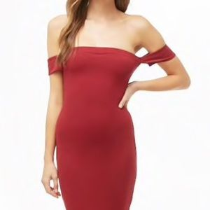 NWT Forever 21 Contemporary Red Off Shoulder Dress